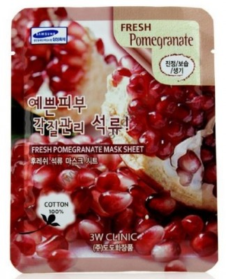 Тканевая маска с экстрактом граната 3W CLINIC Fresh Mask Sheet Pomegranate 23мл: фото