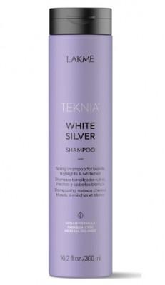 Шампунь тонирующий для нейтрализации желтого оттенка волос Lakme Teknia WHITE SILVER SHAMPOO 300 мл: фото